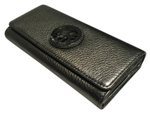 Michael Kors Michael Kors Fulton Flap Leather Clutch Wallet Gunmetal Leather