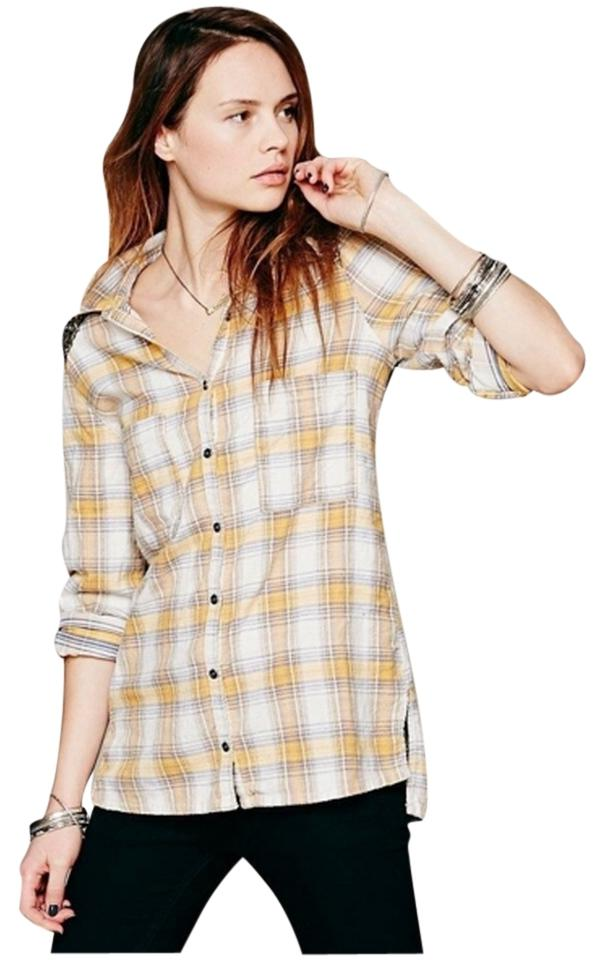 9e198cc6 Free People Sequin Plaid Tunic Nordstrom Button Down Shirt Yellow Image 0  ...