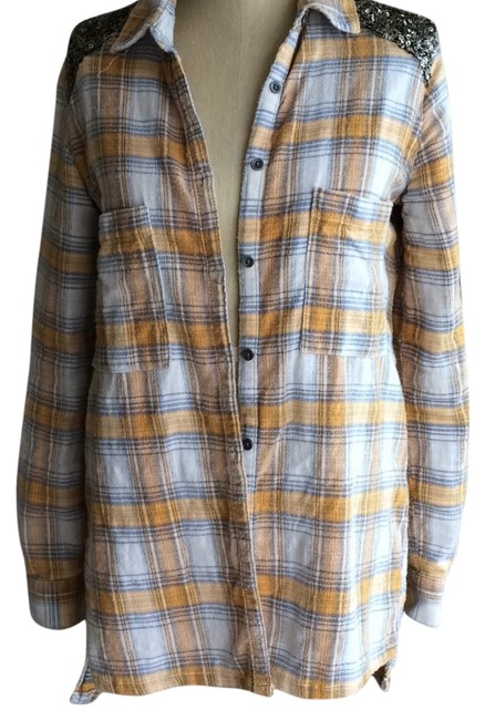 Free People Sequin Plaid Tunic Nordstrom Button Down Shirt Yellow Image 1