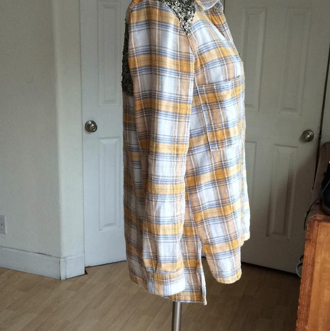 Free People Sequin Plaid Tunic Nordstrom Button Down Shirt Yellow Image 3