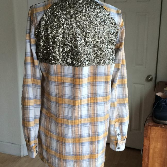 Free People Sequin Plaid Tunic Nordstrom Button Down Shirt Yellow Image 4