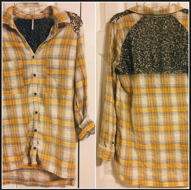 Free People Sequin Plaid Tunic Nordstrom Button Down Shirt Yellow Image 8