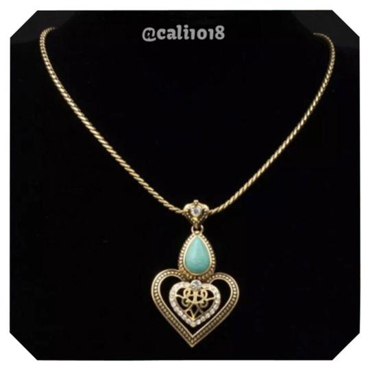 Preload https://img-static.tradesy.com/item/11379619/turquoise-and-gold-tone-austrian-crystal-necklace-0-1-540-540.jpg