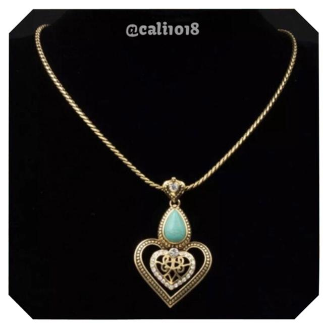 Turquoise & Gold Tone Austrian Crystal Necklace Turquoise & Gold Tone Austrian Crystal Necklace Image 1