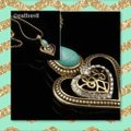 Turquoise & Gold Tone Austrian Crystal Necklace Turquoise & Gold Tone Austrian Crystal Necklace Image 3