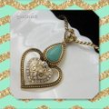 Turquoise & Gold Tone Austrian Crystal Necklace Turquoise & Gold Tone Austrian Crystal Necklace Image 4