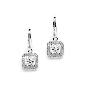 Art Deco Princess Cut Crystal Pave Bridal Earrings