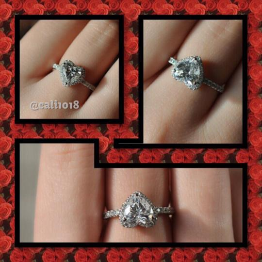 Other 1CT Center Heart Shaped Stone With Cz Accents; .925 Silver Image 3