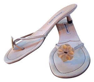 Manolo Blahnik Sandal Mother Of Pearl Kitten White Sandals