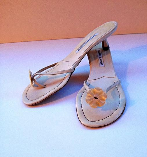 Manolo Blahnik Mother Of Pearl Kitten Thong White Sandals