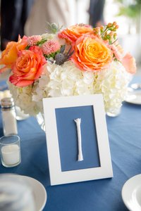 Nautical Wedding Table Numbers And Frames Navy And White Rope