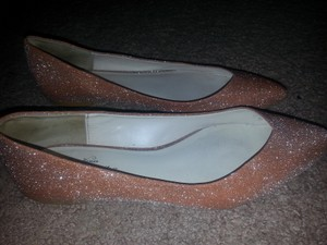 Zara Gold Pointed Sparkly Ballet Flats-evening/Wedding Formal Size US 10