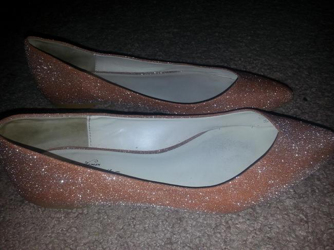 Item - Gold Pointed Sparkly Ballet Flats-evening/Wedding Formal Size US 10