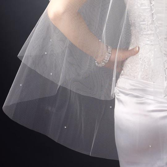 Elegance By Carbonneau White Double Layer Wedding Veil With Crystals