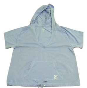 New York & Company Hooded Draw String T Shirt periwinkle purple