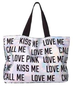 PINK Silver Kiss Love Call Bling Tote in Silver/Black