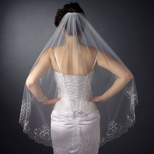 Elegance By Carbonneau Ivory Elaborately Beaded Fingertip Wedding Veil