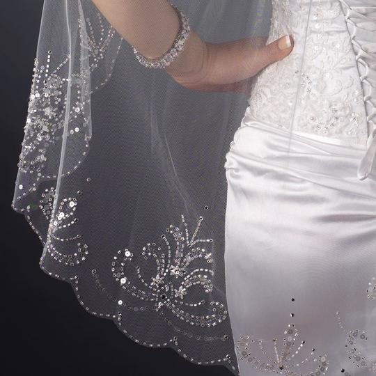 Elegance By Carbonneau Beautifully Beaded Fingertip Length Wedding Veil With Scalloped Edge