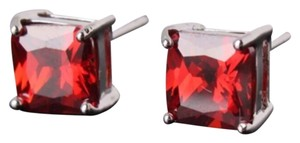 Garnet & White Gold Filed Stud Earrings