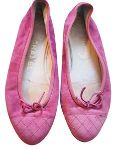 Chanel Quilted Ballet Suede Red/pink Flats