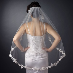 Elegance By Carbonneau White Fingertip Wedding Veil With Lace Edge