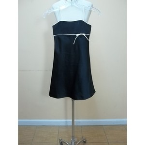 Alfred Angelo Black/Ivory Satin 6132mm Formal Bridesmaid/Mob Dress Size OS (one size)