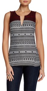 Sanctuary Clothing Jacquard Knit Pullover Sleeveless Top Multi Black and white and red