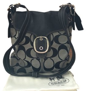 Coach Signature Canvas Genuine Leather Adjustable Shoulder Strap Dust Included Black Gray Messenger Bag