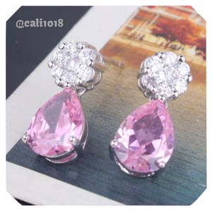 Pear Shaped Pink Topaz White Gold Filled