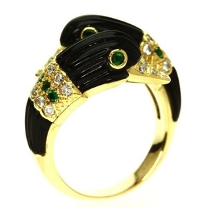 Van Cleef & Arpels Van Cleef & Arpels 18k Yg Vintage Swan Ring Onyx Emerald Diamonds