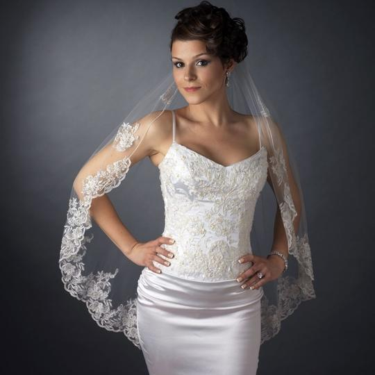 Elegance By Carbonneau White Fingertip Wedding Veil With Silver Embroidery