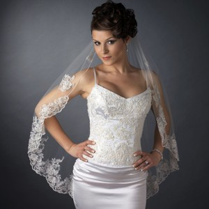 Elegance by Carbonneau Ivory/Silver Medium Fingertip with Beaded Embroidery Bridal Veil