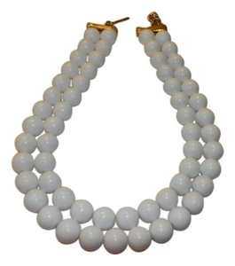 MONET Vintage Monet Double Strand Necklace White Bead Gold Tone