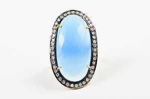 Gold Plated Sterling Silver Blue Chalcedony Cz Oval Cocktail Ring