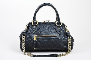 Marc Jacobs Gold Tone Satchel in Black