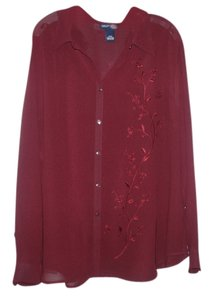 Venezia by Lane Bryant Embroidery Button-down Top burgundy