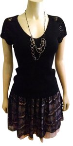 Uniform John Paul Richard Silk Silk Blend Medium V-neck P741 Top black