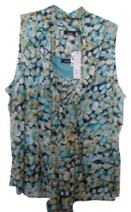 Apt. 9 Tie Neck Button Down Top tourquoise blue and yellow