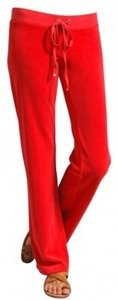Juicy Couture Juicy Red Velour Lounge Relaxed Pants Siam Red