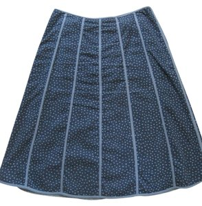 Willi Smith Skirt Blue with Light Blue Stripes and Dots