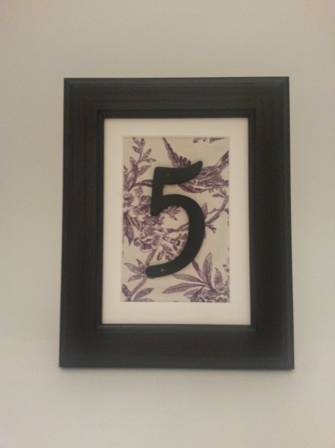 Item - Black Purple & Off White Table Numbers In Frames