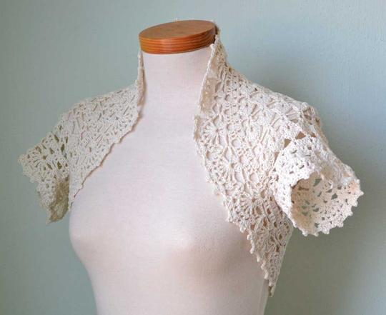 Ivory New Cream Silk Lace Crochet Bridal Shrug Bolero