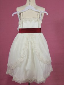 Alfred Angelo Ivory/Claret Lace 6616 Formal Bridesmaid/Mob Dress Size OS (one size)