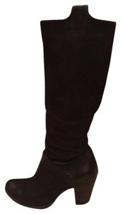 MJUS Leather Mid Heel Italian Natural Hand Colored Black Boots
