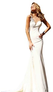 Tarik Ediz Wedding Gown Evening Sexy White Mermaid Prom Open Back Long Train Dress