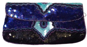 Ecote Sequin Beaded Front Flap Purple, Turquoise, Black Clutch