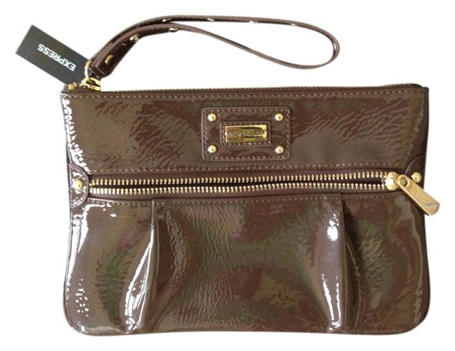 Item - Casual Gold Hardware Gold Studded Brown Faux Leather Wristlet