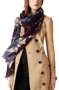 Burberry NEW Burberry Check and Camouflage Wool Silk Scarf