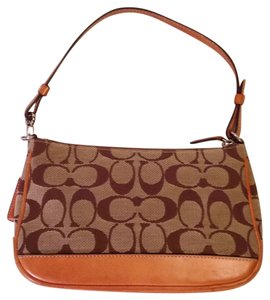 Coach Monogram Classic Satchel in Brown/khaki ,light Tan Leather