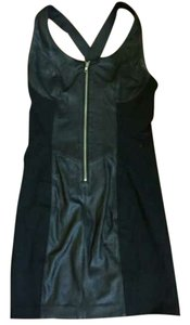 VEDA short dress Black Leather on Tradesy